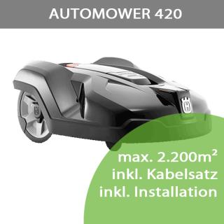 Mähroboter Husqvarna Automower 420 (max 2.200m²) inkl. Installation bis 1.000m²