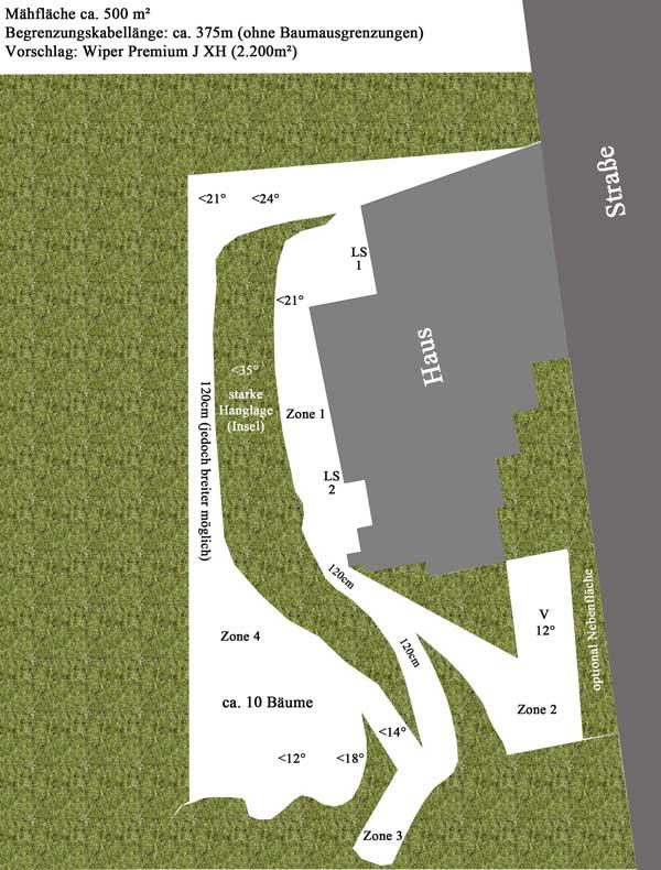 Wiper Gartenplan komplexe Fläche mit schmalen Passagen und starkem Gefälle